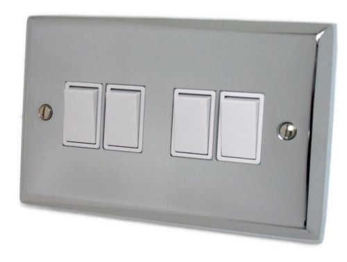 G&H SC4W Spectrum Plate Polished Chrome 4 Gang 1 or 2 Way Rocker Light Switch